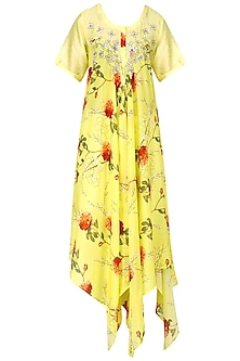 Lemon Yellow Floral Print Asymmetric Kurta by GOPI VAID