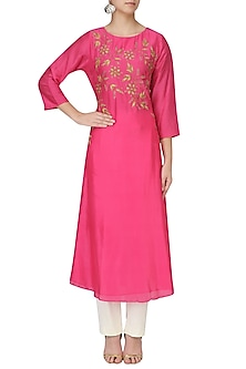 Pink Embroidered Aymmetric Kurta by GOPI VAID