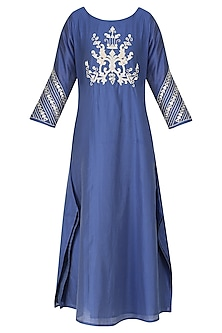 Blue Mirror Embroidered Kurta by GOPI VAID