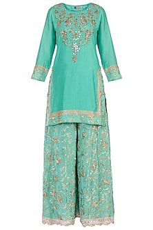Sea Green Embroidered Kurta with Sharara Pants Set