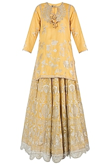 Yellow Embroidered Kurta with Lehenga Skirt Set