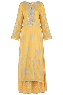 Yellow Embroidered Kurta with Palazzo Pants Set