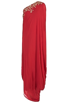 Red Embroidered One Shoulder Gown