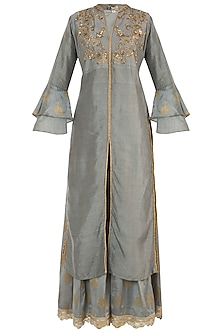 Grey Embroidered Kurta with Palazzo Pants