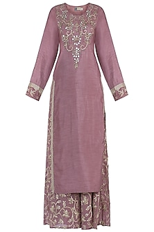 Wine Embroidered Kurta with Sharara Pants Set