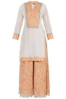 Off White and Orange Embroidered Kurta with Sharara Pants Set