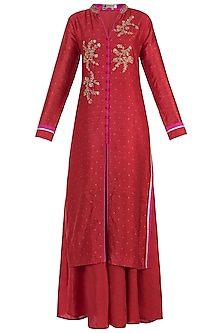 Pink Embroidered Kurta with Palazzo Pants Set