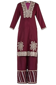 Wine Zari Embroidered Kurta with Sharara Pants Set