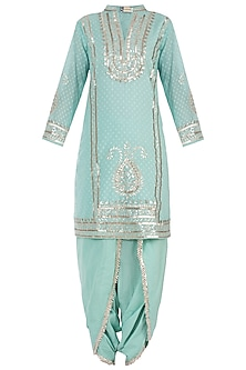 Turquoise Embroidered Kurta with Dhoti Pants Set