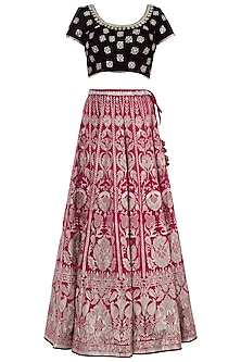 Rani Pink and Wine Embroidered Lehenga Set by GOPI VAID