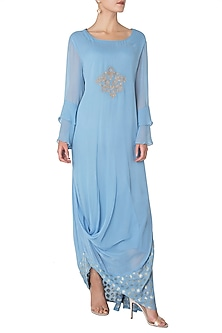 Blue Asymmetrical Embroidered Kurta by GOPI VAID