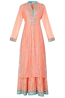 Peach Embroidered Kurta with Pleated Skirt Set