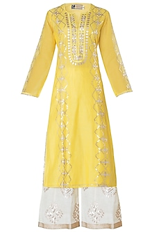 Yellow Embroidered Kurta with Sharara Pants Set
