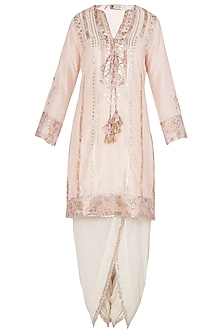 Off White Embroidered Kurta Set with A Triangle Scarf