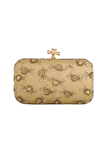 Golden Embroidered Clutch by GRANDEUR