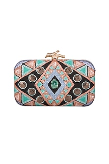 Multi Colored Embroidered Clutch by GRANDEUR