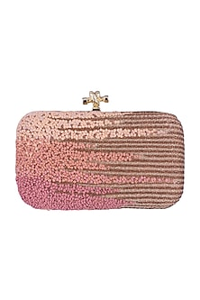 Pink Embroidered Ombre Clutch by GRANDEUR