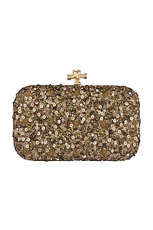Olive Green & Gold Embroidered Clutch With Metal Chain by GRANDEUR