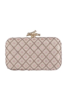 Ivory Floral & Checks Embroidered Clutch by GRANDEUR
