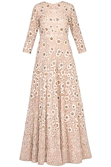 Pastel pink embroidered anarkali gown with churidar pants