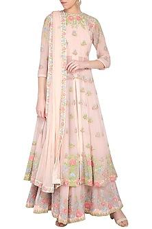 Pastel pink embroidered kurta with gharara pants set by Garo