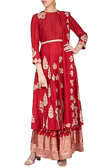 Deep red embroidered kurta with gharara pants set by Garo