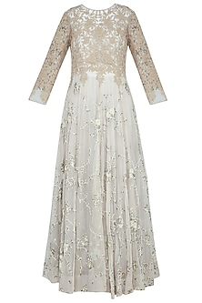 Grey embroidered anarkali gown with churidar pants
