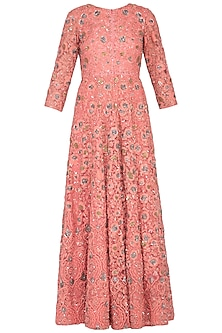 Pink embroidered anarkali gown with churidar pants by Garo