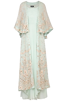 Soft pale blue drape and churidar with embroidered overlayer cape by Garo
