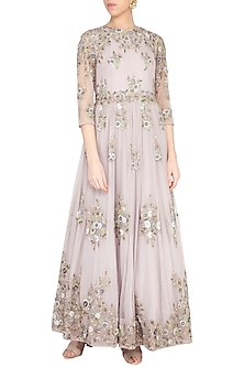 Greyish muave embroidered anarkali gown with churidar pants by Garo