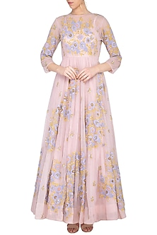 Bright onion pink embroidered anarkali gown with churidar pants by Garo