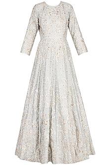 Light grey anarkali gown with churidar pants