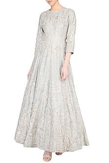 Light grey anarkali gown with churidar pants by Garo