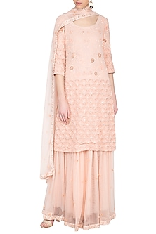 Powder pink kurta with gharara pants set by Garo