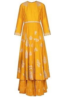Mustard embroidered kurta with gharara pants set