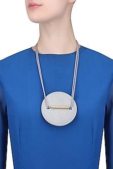 Grey Double Thread String Brushed White Big Round Pendant Neckpiece by Greytone