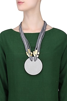 Grey Multiple Thread String Gold Finish Tubes Round Pendant Neckpiece