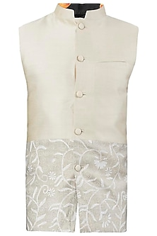 Ivory Embroidered Nehru Jacket