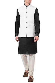 White Linen Nehru Jacket by Gaurav Katta