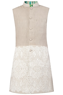 Grey Embroidered Long Nehru Jacket