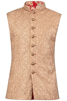 Beige Embroidered Nehru Jacket
