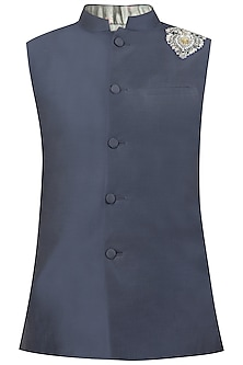 Steel Blue Embroidered Nehru Jacket by Gaurav Katta