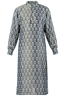 Grey Block Printed Kurta with Churidar Pants