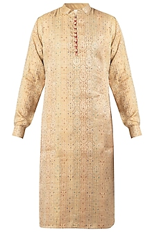 Khaki Self Printed Kurta