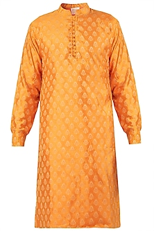 Orange Self Printed Kurta