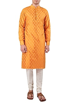 Orange Self Printed Kurta by Gaurav Katta