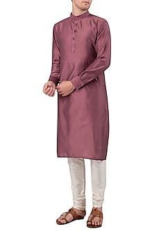 Old Rose Cotton Silk Kurta by Gaurav Katta