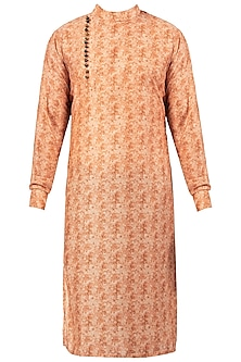 Rusty Peach Block Printed Angrakha Kurta