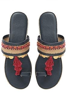 Navy Blue Tassel Sandals by Gush