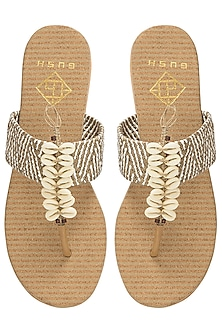 Beige Shell Trimmed Sandals by Gush